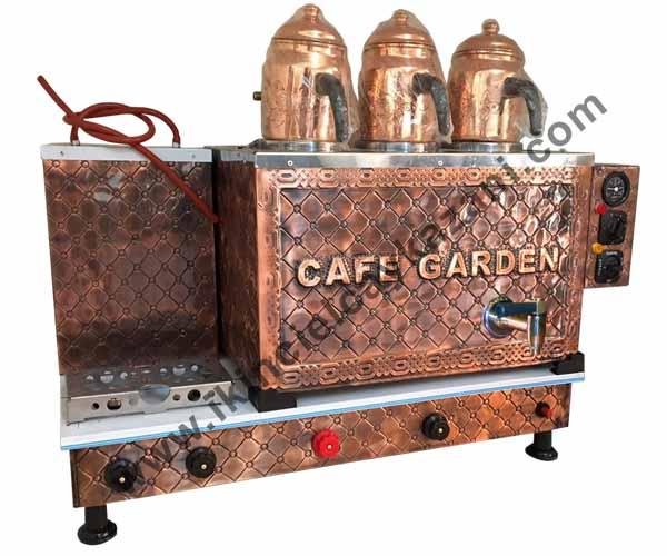Üçlü Bakır Çay Kazanı ve Bakır demlikler (Cafe Garden)