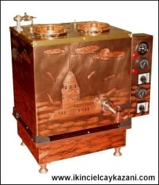 İkili Bakır BüroTipi Elektrikli Çay Kazanı